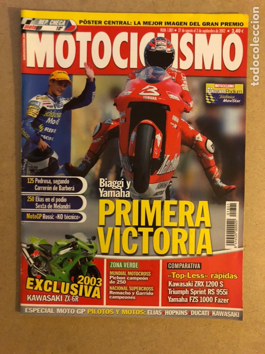 MOTOCICLISMO N° 1801 (2002). MAX BIAGGI EN YAMAHA, KAWASAKI ZX-6R, POSTER HECTOR BARBERÁ,... (Coches y Motocicletas - Revistas de Motos y Motocicletas)