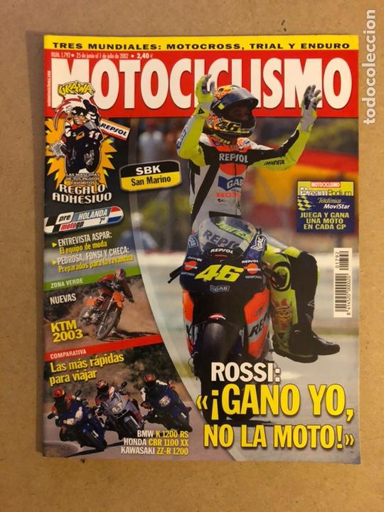 MOTOCICLISMO N° 1792 (2002). PEGATINA UKAWA, COMPARATIVA (BMW K 1200 RS, HONDA CBR 1100 XX, KAWA ZZ- (Coches y Motocicletas - Revistas de Motos y Motocicletas)
