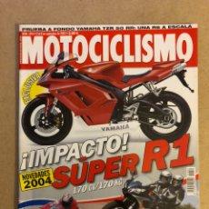 Coches y Motocicletas: MOTOCICLISMO N° 1854 (2003). YAMAHA R1, MOTOS GP 4T MÍTICAS, YAMAHA FAZER 600, YAMAHA TZR 50 RR,.... Lote 160546600