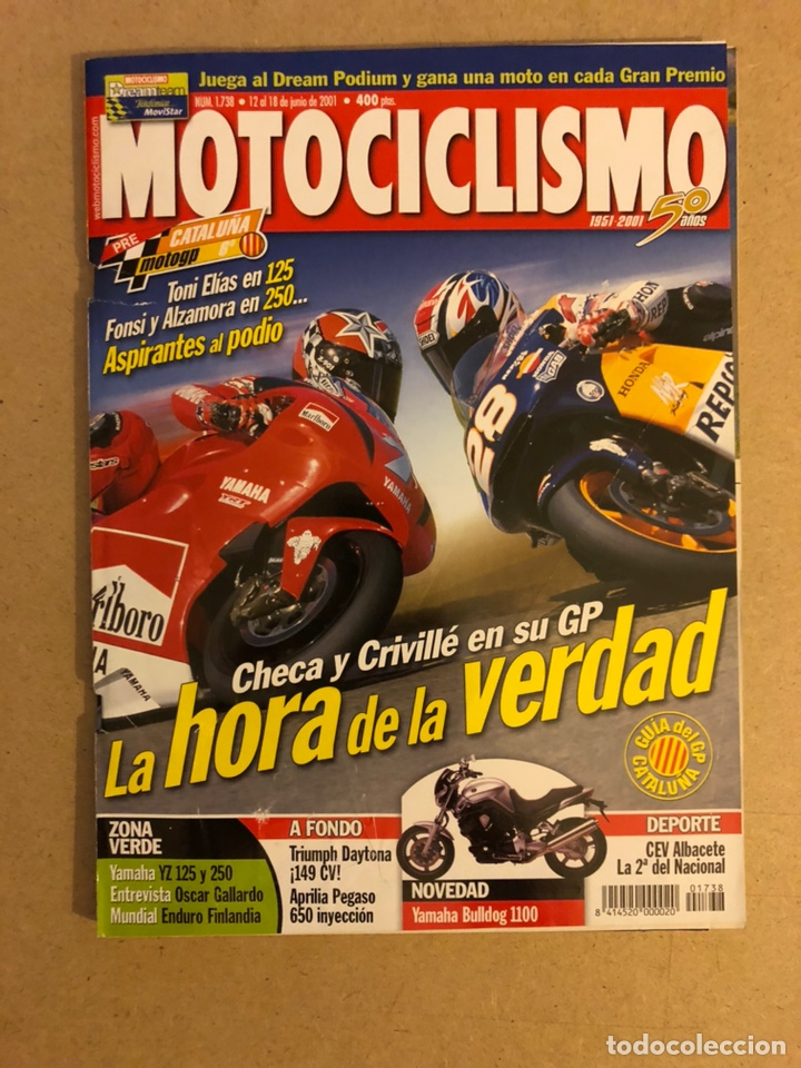 MOTOCICLISMO N° 1738 (2001). G.P. CATALUÑA (CHECA Vs CRIVILLÉ), YAMAHA BULLDOG 1100, TRIUMPH DAYTONA segunda mano