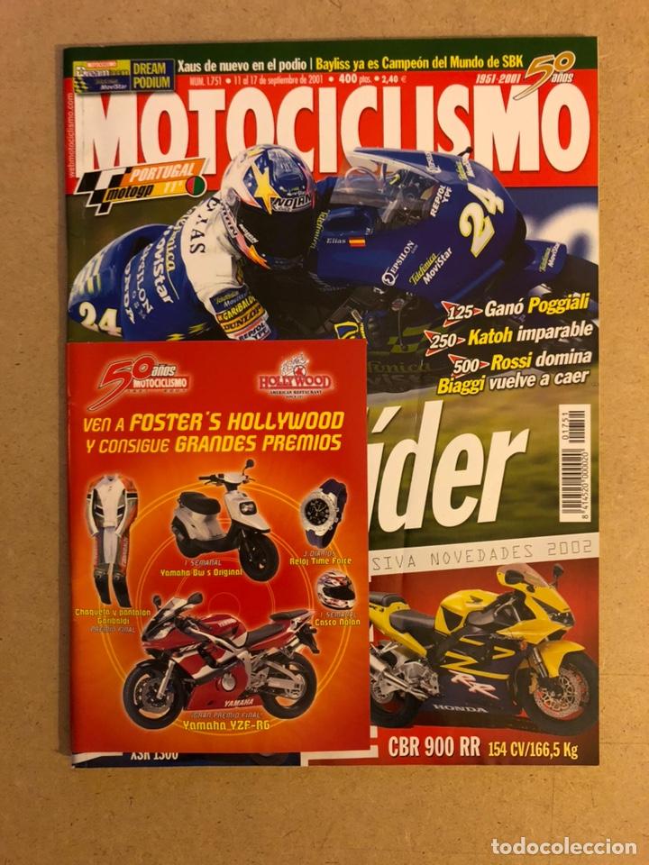 MOTOCICLISMO N° 1751 (2001). YAMAHA (FZS 600 y XSR 1300). HONDA CBR 900 RR, G.P. PORTUGAL,... segunda mano