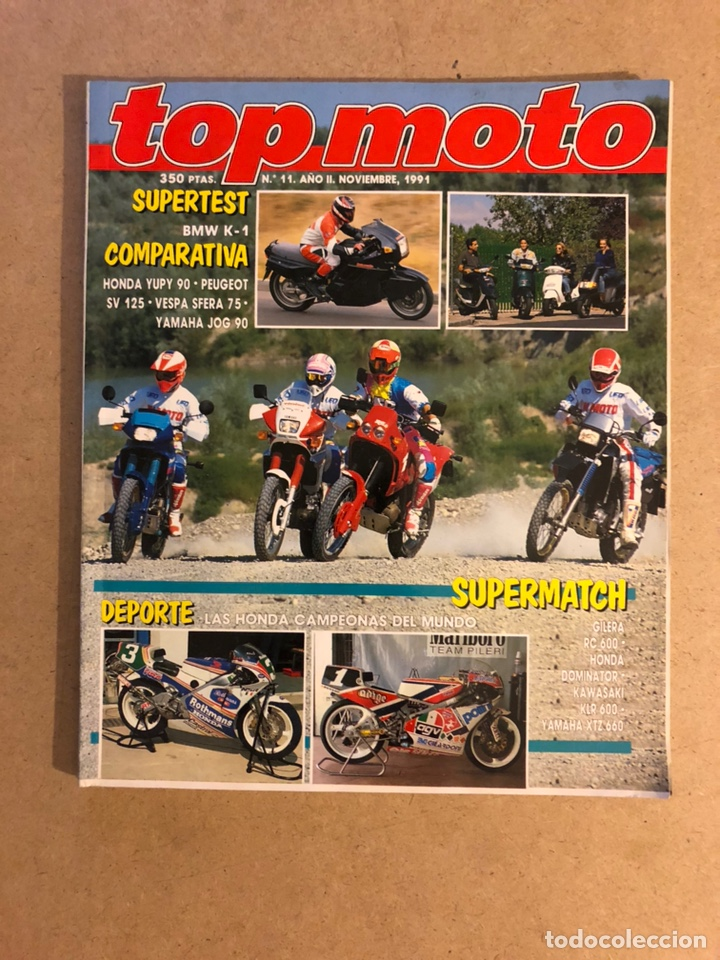 TOP MOTO N° 11 (1991). BMW K-1, HONDA YUPI 90, PEUGEOT SV 125, VESPA SFERA 75, YAMAHA JOG 90, GILERA (Coches y Motocicletas - Revistas de Motos y Motocicletas)