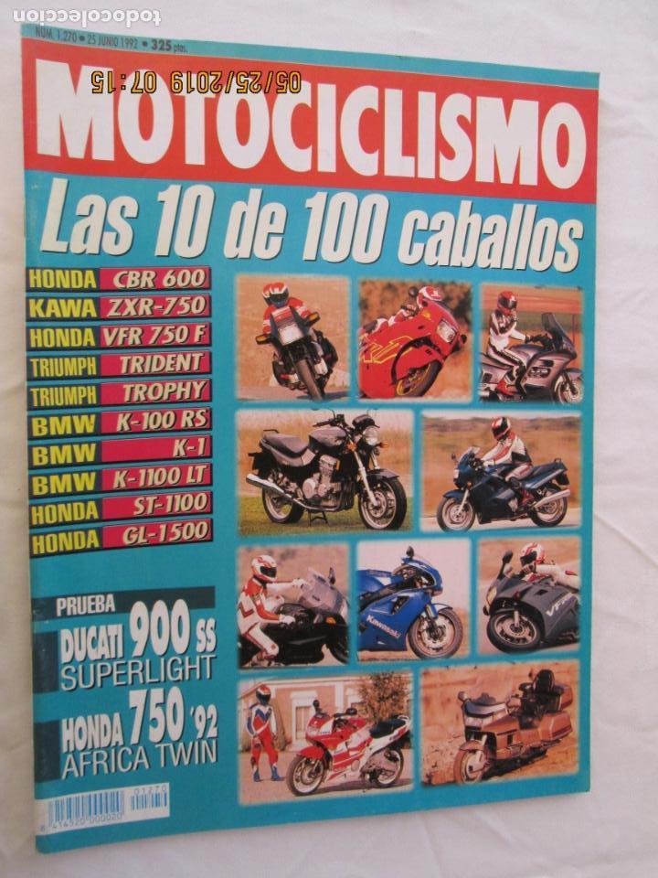 MOTOCICLISMO REVISTA Nº 1270 JUNIO 1992 - LAS 10 DE 100 CABALLOS... (Coches y Motocicletas - Revistas de Motos y Motocicletas)
