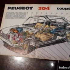 Cars and Motorcycles - LÁMINA RADIOGRAFÍA DEL PEUGEOT 204 COUPE . AÑO 1967 . 33 X 23 CM - 166784666