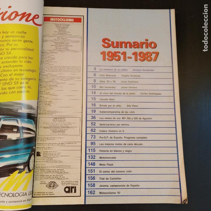 Coches y Motocicletas: Motociclismo 1000 - Año 1987 - Nº1000 Especial - Sumario 1951-87 - Raro - Foto 2 - 166847650