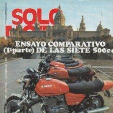 Coches y Motocicletas: REVISTA SOLO MOTO ACTUAL Nº 181 AÑO 1979. COMP: GUZZI V50, MORINI 500,DUCATI 500 DESMO,SANGLAS 400 Y. Lote 170380284