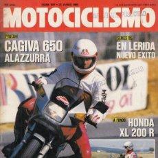 Coches y Motocicletas: REVISTA MOTOCICLISMO Nº 907 AÑO 1985. PRUEBA: CAGIVA ALAZZURRA 650. HONDA XL. 200. . Lote 171206783