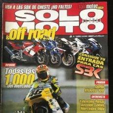 Coches y Motocicletas: SOLO MOTO ACTUAL - Nº 1291 - MARZO 2001 - DERBI ATLANTIS 100 TM 250 ANTONIO COBAS HONDA 4T ROSSI. Lote 171341339