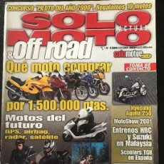 Coches y Motocicletas: SOLO MOTO ACTUAL - Nº 1285 - ENERO 2001 - DUCATI MH900E TRIUMPH BONNEVILLE YAMAHA TMAX 500 . Lote 171341809