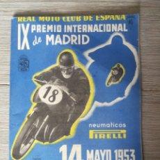 Coches y Motocicletas: PROGRAMA DEL IX PREMIO INTERNACIONAL DE MADRID DEL REAL MOTO CLUB DE ESPAÑA - CIRCUITO DEL RETIRO - . Lote 176495733
