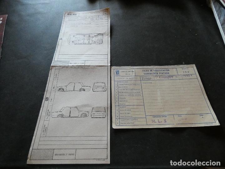 2 PLANTILLAS VERIFICACION CARROCERIA SEAT 124 EN FABIRCA AÑO 1977 (Coches y Motocicletas - Revistas de Motos y Motocicletas)