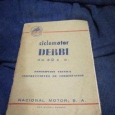 Coches y Motocicletas: MANUAL CICLOMOTOR DERBI 49 CC. NACIONAL MOTOR.. Lote 178397788