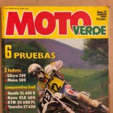 Coches y Motocicletas: MOTO VERDE N° 73 (AGOSTO 1984). GILERA 250, MAICO 500, HONDA XL 600 R, KAWA KLR 600, KTM GS 600 PL. Lote 185746553