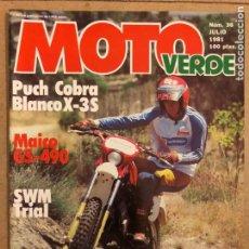 Automobili e Motociclette: MOTO VERDE N° 36 (JULIO 1981). PUCH COBRA BLANCO X-3S, MAICO GS-490, SWM TRIAL, T.T. LAS MECÁNICAS. Lote 185750281