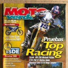 Coches y Motocicletas: MOTO VERDE N° 266 (2000). ENDURO - CROSS - TRIAL - RAIDS. INCLUYE PÓSTER. PRUEBAS TOP RACING. Lote 185981285