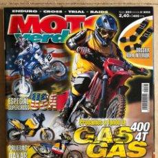 Carros e motociclos: MOTO VERDE N° 283 (2002). ENDURO - CROSS - TRIAL - RAIDS. GAS GAS, HONDA, HUSQVARNA, KTM,.... Lote 185981942
