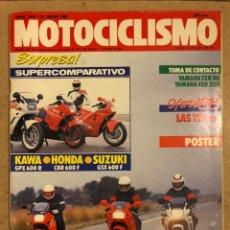 Voitures et Motocyclettes: MOTOCICLISMO N° 1040 (1988). KAWA GPZ 600 R VS HOMDA CBR 600 F VS SUZUKI 600 F, PÓSTER,.... Lote 187132487