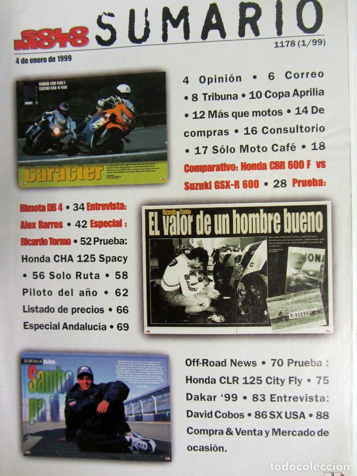 Coches y Motocicletas: SOLO MOTO ACTUAL N°1178 (1999). ÀLEX BARROS, MUERTE RICARDO TORMO, HONDA CNR 600 F Vs SUZUKI GSX-R - Foto 2 - 194307795