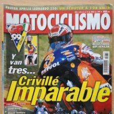 Coches y Motocicletas: MOTOCICLISMO Nº 1633 1999 HONDA GL 1500 GOLD WING / YAMAHA XVZ STAR AVENTURE / CB 600 HORNET. Lote 194587298