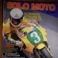 Coches y Motocicletas: SOLO MOTO TREINTA - Nº 42 - JULIO-AGOSTO 1986 -DUCATI PASO 750 EURO VESPA EUROVESPA 200 HONDA NS 125. Lote 194645610