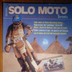 Coches y Motocicletas: SOLO MOTO TREINTA - Nº 48 - ENERO-FEBRERO 1987 - YAMAHA FZ X 750 PHAXER / FZ 750 / FZR 1000 / TZR 25. Lote 194645921