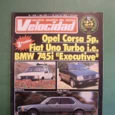 Coches y Motocicletas: VELOCIDAD Nº 1236 1/6/1985 OPEL CORSA FIAT UNO BMW 745 - KTM 125 MX - RALLYE TIERRA LUGO . Lote 194970817