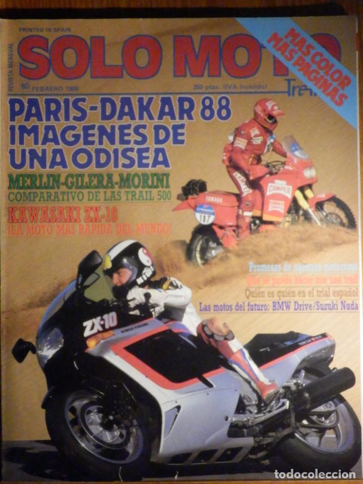 SOLO MOTO TREINTA - Nº 60 - FEBRERO 1988 KAWASAKI ZX 10. COMP: GILERA DAKOTA 500,MERLIN NOMADA 500 (Coches y Motocicletas - Revistas de Motos y Motocicletas)