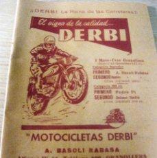 Coches y Motocicletas: FOLLETO DIPTICO PUBLICIDAD MOTOCICLETAS DERBI BASOLI RABASA GRANOLLERS AÑOS 50. Lote 195778948