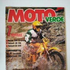 Coches y Motocicletas: REVISTA MOTO VERDE Nº 72 GILERA C1 C2 HX REPLICA VALENTI CR HONDA CR 250 ARCARONS KUWAHARA . Lote 199238553