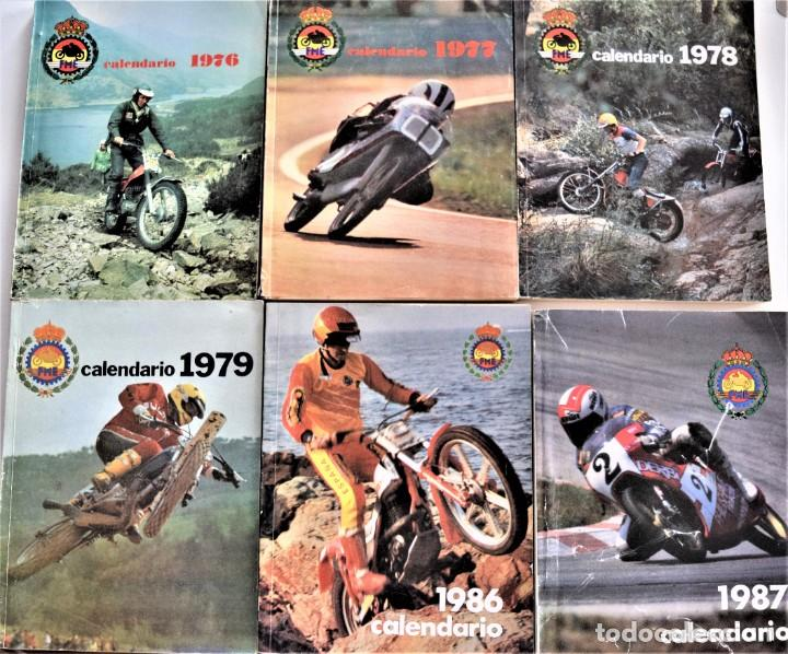 LOTE 6 CALENDARIO REAL FEDERACIÓN MOTOCICLISTA ESPAÑOLA AÑOS 1976, 1977, 1978, 1979, 1986 Y 1987 (Coches y Motocicletas - Revistas de Motos y Motocicletas)