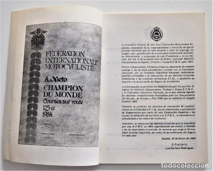 Coches y Motocicletas: CALENDARIO DEPORTIVO MOTOCICLISTA AÑO 1985 - REAL FEDERACIÓN MOTOCICLISTA ESPAÑOLA - Foto 4 - 205713925
