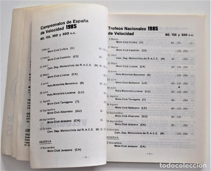 Coches y Motocicletas: CALENDARIO DEPORTIVO MOTOCICLISTA AÑO 1985 - REAL FEDERACIÓN MOTOCICLISTA ESPAÑOLA - Foto 6 - 205713925
