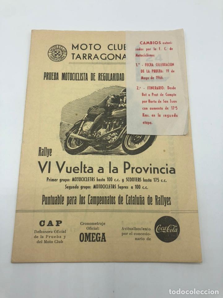 PRUEBA RALLYE VI VUELTA A LA PROVINCIA 1966 MOTO CLUB TARRAGONA REGLAMENTO (Coches y Motocicletas - Revistas de Motos y Motocicletas)