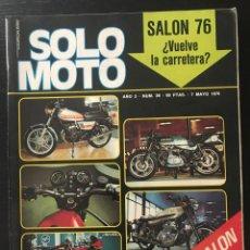 Coches y Motocicletas: SOLO MOTO Nº 36 - EXTRA SALON BARCELONA POSTER VILLA HARLEY MOTOCROSS GRANADA GP AUSTRIA TT ESPAÑA. Lote 211424236