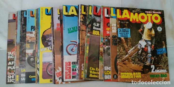 LOTE 31 PRIMEROS NÚMEROS DE LA REVISTA - LA MOTO - DEL 1 AL 34. JULIO 1975 A JULIO DE 1977. CÓMO NUE (Coches y Motocicletas - Revistas de Motos y Motocicletas)