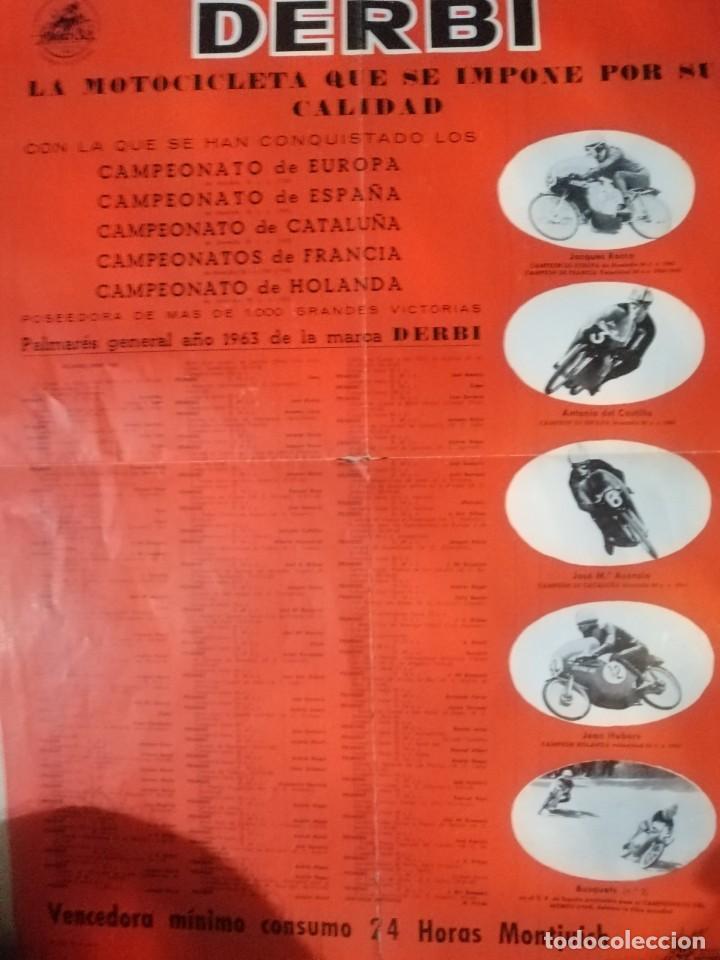 Coches y Motocicletas: Cartel antiguo uo moto Derbi - Foto 4 - 217631061