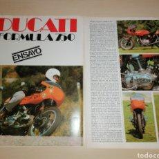 Coches y Motocicletas: RECORTE ENSAYO DUCATI FÓRMULA 750. Lote 222559612