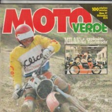 Coches y Motocicletas: REVISTA MOTO VERDE N° 17 AÑO 1979. PRU: DERBI 125 CROSS AGUA. MAICO 440 CROSS. FANTIC 200 TRIAL... Lote 245483380