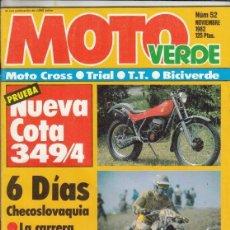 Coches y Motocicletas: REVISTA MOTO VERDE Nº 52 AÑO 1982. PRUEBA: MONTESA COTA 349. BICI VERDE: PEUGEOT CPX 100.. Lote 245483695