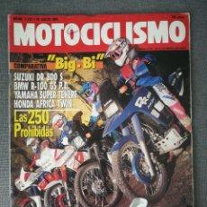 Carros e motociclos: MOTOCICLISMO N.º 1221 1991 SUZUKI DR 800 S, BMW R-100 GS, YAMAHA SUPER TENERE, HONDA AFRICA TWIN. Lote 249506550