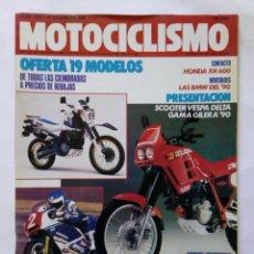 Coches y Motocicletas: MOTOCICLISMO Nº 1139 AÑO 1989 MODELOS VESPA GILERA '90, BMW, HONDA XR 600, DAKAR - PERFECTO ESTADO. Lote 268914319