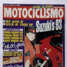 Coches y Motocicletas: MOTOCICLISMO Nº 1280 AÑO 1992 SUZUKI'S 93, COMPARATIVA CUSTOM, GUZZI DAYTONA 1000 - PERFECTO ESTADO. Lote 269963713