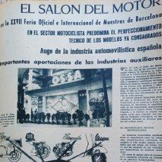 Carros e motociclos: SALON DEL MOTOR XXVII FERIA DE MUESTRAS DE BARCELONA. AÑO 1959 . REPORTAJE DE 5 PÁGINAS .AÑO 1959. Lote 276077673