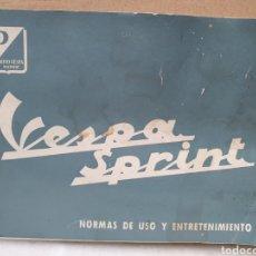 Carros e motociclos: MANUAL VESPA SPRINT. NORMAS DE USO Y ENTRETENIMIENTO. MADRID 1965.. Lote 277727758
