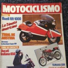 Coches y Motocicletas: MOTOCICLISMO Nº 1012 AÑO 1987. PRU: BUELL RR 1000. DUCATI INDIANA 650. KAWASAKI KX 80 Y 125.. Lote 279460838
