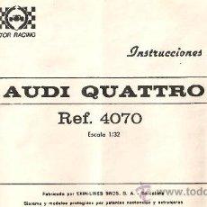 Scalextric: SCALEXTRIC INSTRUCCIONES AUDI QUATTRO. Lote 28448730