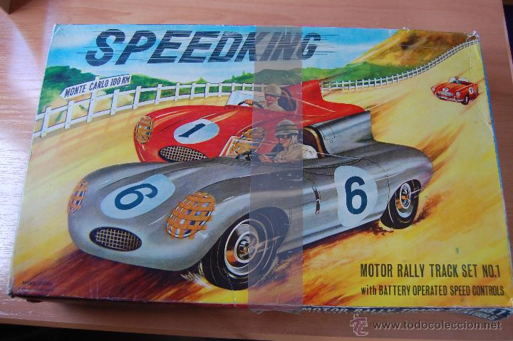 RARO CIRCUITO COMPLETO SPEEDKING MONTE CARLO. INCLUYE 2 COCHES JAGUAR TYPE D. SIMILAR SCALEXTRIC. (Juguetes - Slot Cars - Scalextric Exin)