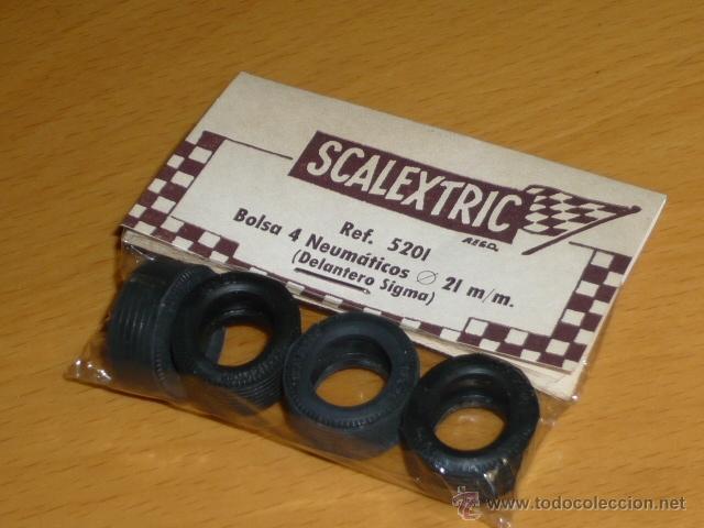 SCALEXTRIC ORIGINAL EXIN 4 NEUMATICOS DELANTEROS SIGMA EN BLISTER SIN ABRIR REF 5201 (Juguetes - Slot Cars - Scalextric Exin)