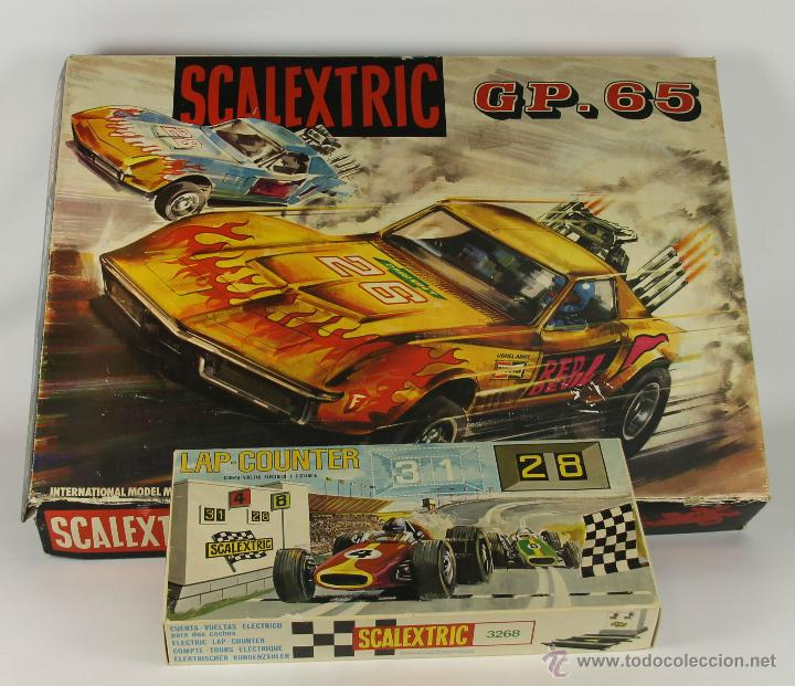 SCALEXTRIC MODELO GP-65. COMPLETO. 2 CHEVROLET DRAGSTAR. 1970. CUENTAVUELTAS SCALEXTRIC 3268. (Juguetes - Slot Cars - Scalextric Exin)