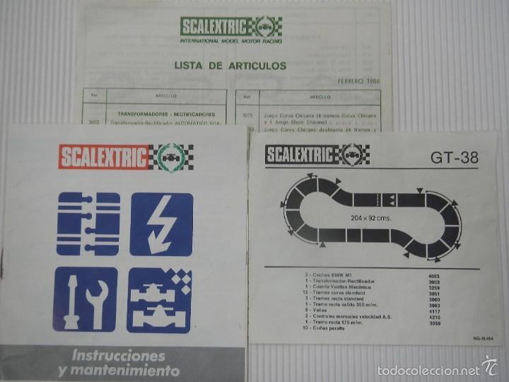 SCALEXTRIC EXIN LOTE DOCUMENTACION ORIGINAL CIRCUITO GT 38 (Juguetes - Slot Cars - Scalextric Exin)